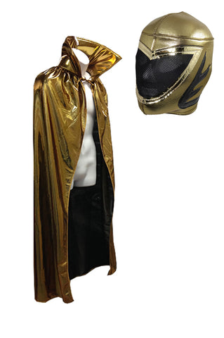 "Lucha Libre Adult Halloween 54"" Gold Cape & Gold Mask combo costume"