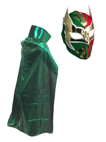 SIN CARA Youth Lucha Libre Wrestling Mask & Cape Halloween Set Green