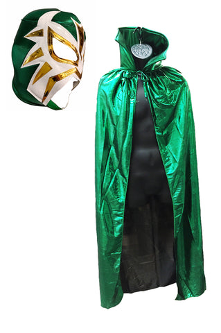 "Lucha Libre Adult Halloween 54"" Metallic Lycra Cape & Green Mask combo costume"