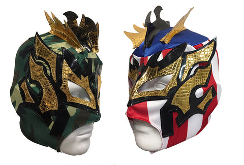 2pk KALISTO Youth Young Adult Lucha Libre Wrestling Mask - CAMMO/USA