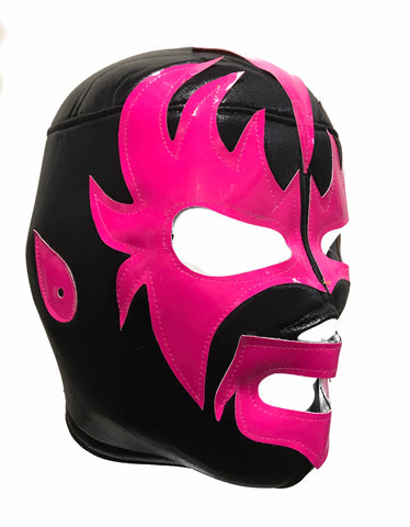 KISS DEMON Lucha Libre Wrestling Mask (pro-fit) Black/Hot Pink