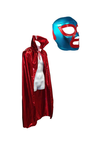NACHO LIBRE Adult Lucha Libre (pro-fit) Mask and Metallic Red Cape Combo set