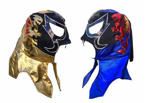 2 Pack PENTAGON (pro-LYCRA) Adult Lucha Libre Wrestling Mask - Blue/Gold