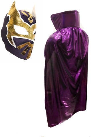 "SIN CARA YOUTH KIDS 30"" Lucha Libre Halloween Costume Cape & Mask - Metallic Purple"