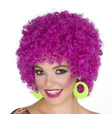 GLITTER AFRO Halloween Disco costume wig - Hot Purple