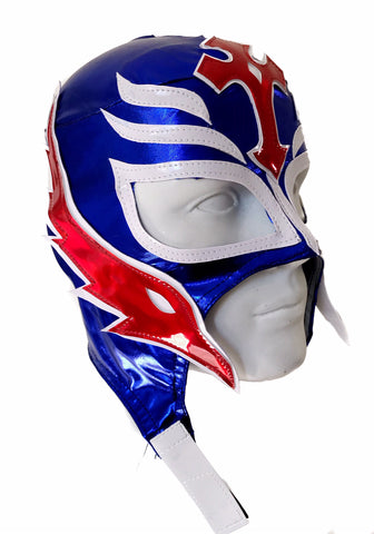 REY MYSTERIO (pro-LYCRA) Youth Young Adult Lucha Libre Wrestling Mask - Blue/Red
