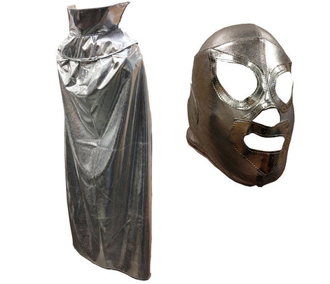 "SANTO YOUTH KIDS 30"" Lucha Libre Halloween Costume Cape & Mask - Metallic Silver"