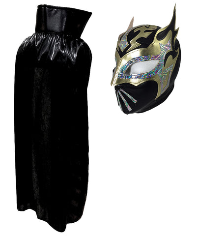 SIN CARA Youth Lucha Libre Wrestling Mask & Cape Halloween Set Black