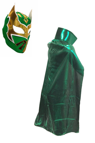 "SIN CARA YOUTH KIDS 30"" Lucha Libre Halloween Costume Cape & Mask - Green"