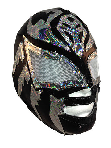 SOMBRA (Youth-LYCRA) Youth Lucha Libre Wrestling Mask - Black/Silver