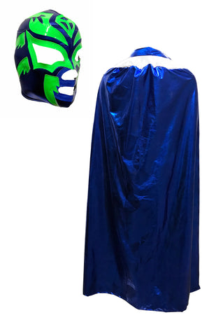 "Lucha Libre Adult Halloween 54"" Cape & Mask combo costume - Navy Blue"