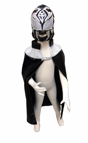 SOMBRA Youth Lucha Libre Wrestling Mask & Cape Halloween Set - Black