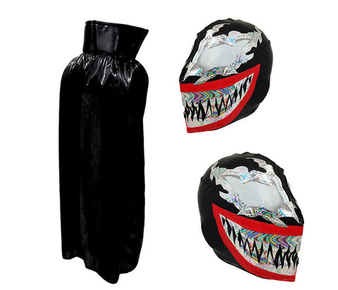 VENOM Youth Lucha Libre Wrestling Mask & Cape Halloween Set