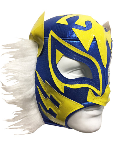 WHITE TIGER Lucha Libre Wrestling Mask (pro-fit) Blue/Yellow