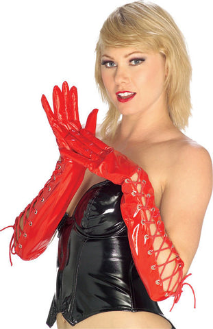 SEXY RED LATEX Lace up Halloween costume gloves - RED