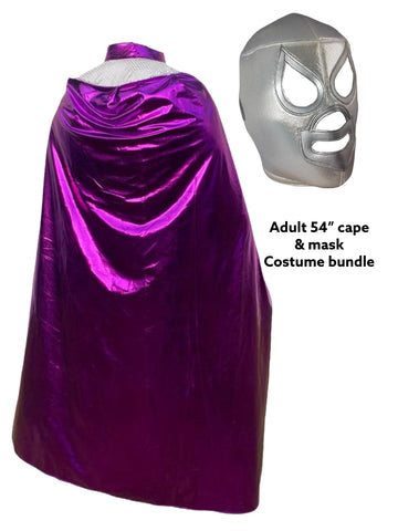 Complete Lucha Libre Costume (Adult Cape and Mask bundle) Purple Cape and Silver Mask