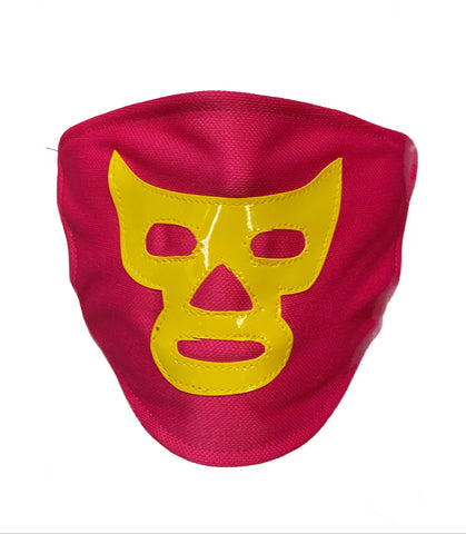 Lucha Libre novelty Adult size FACEMASK Pink/Yellow