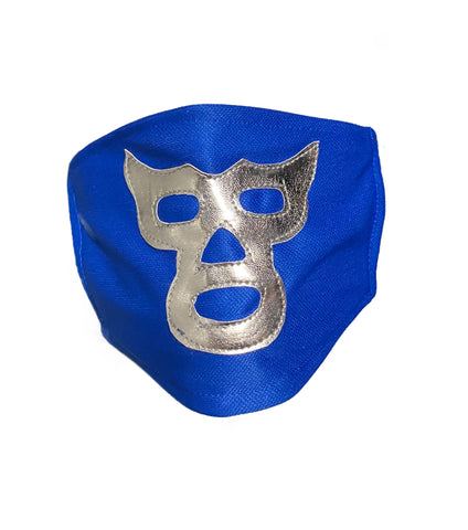 Lucha Libre novelty Adult size FACEMASK Blue/Silver