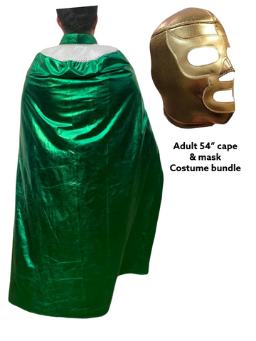 Complete Lucha Libre Costume (Adult Cape and Mask bundle) Green Cape and Gold Mask