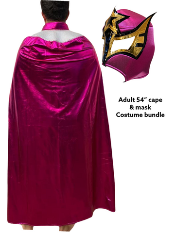 Complete Lucha Libre Costume (Adult Cape and Mask bundle) Pink Cape and Sexy Star Pink