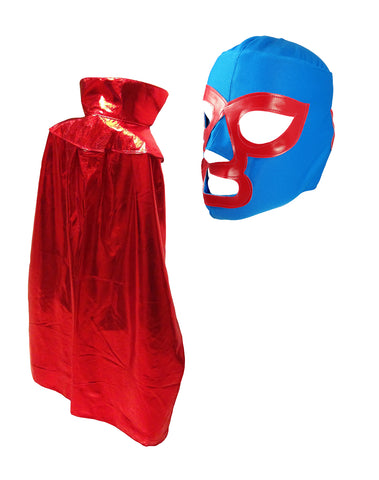 "NACHO JR YOUTH KIDS 30"" Lucha Libre Halloween Costume Cape & Mask - Metallic RED"