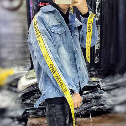 Men Women online shopping fashion cheap Streatwear Yellow Stripes Denim Jacket - HYPERFUSER®