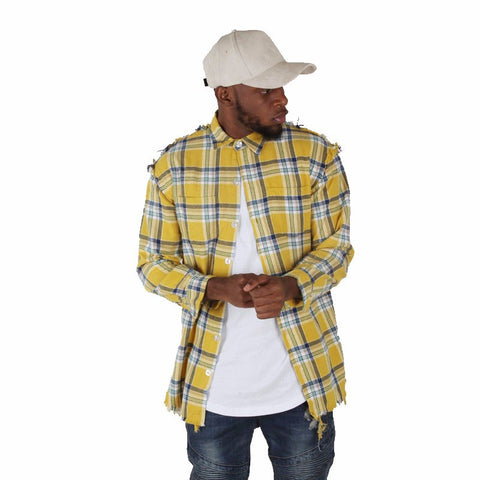 Men Women online shopping fashion cheap Streatwear Yellow plain checked shirts - HYPERFUSER®