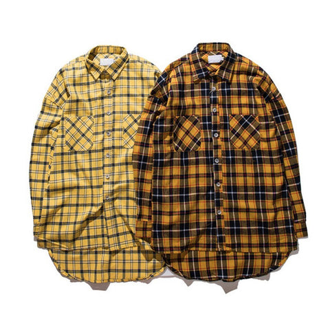 Men Women online shopping fashion cheap Streatwear Yellow plaid elongated shirts - 2 colors - HYPERFUSER®