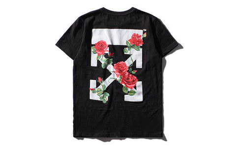 Men Women online shopping fashion cheap Streatwear FLORAL PRINT ROSE TSHIRT - HYPERFUSER®