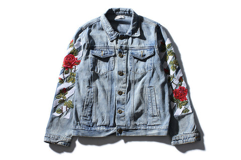 Men Women online shopping fashion cheap Streatwear high quality Off White Floral Denim Jacket - HYPERFUSER®