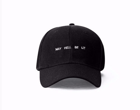 Men Women online shopping fashion cheap Streatwear MAY HELL BE LIT Baseball Hat - HYPERFUSER®