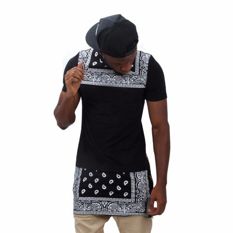 Men Women online shopping fashion cheap Streatwear Black Bandanna gold zip Tshirt - HYPERFUSER®