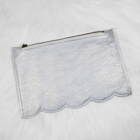 Holo silver Large zip pouch