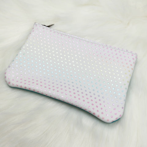Coral back candy dot pouch