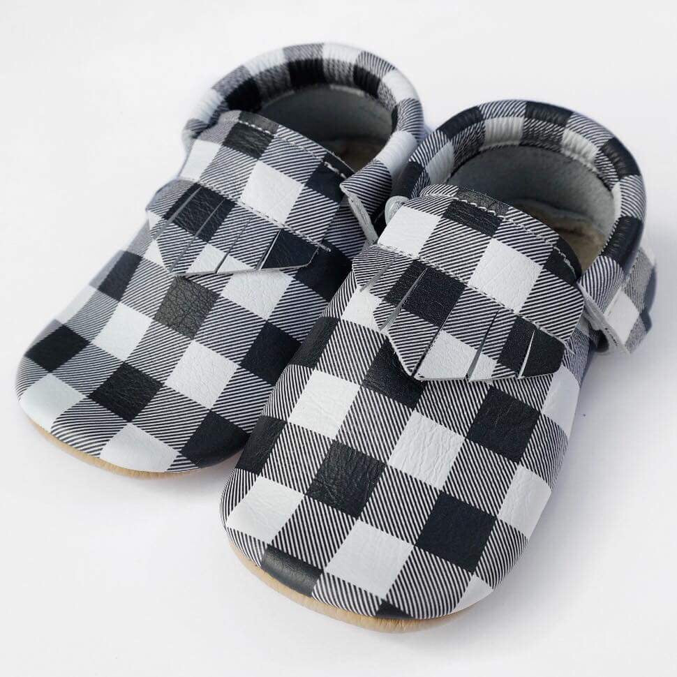 Black plaid with tan sole (bows not included)