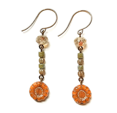 Orange Sunflower Earrings