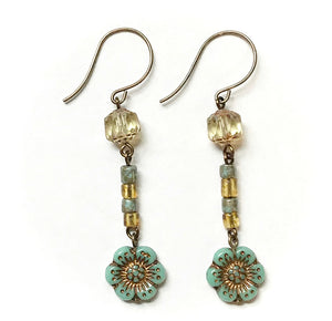 Turquoise Wild Rose Earrings
