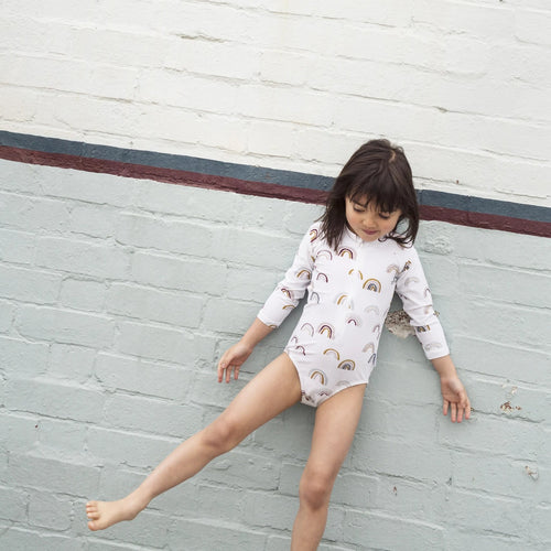 Rainbow Long Sleeve Zip Up Sunsuit Bathers