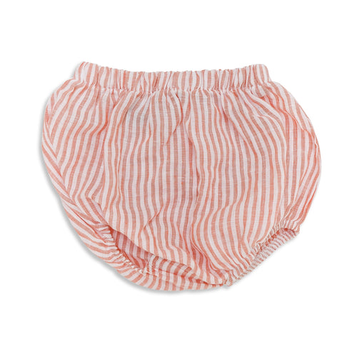 Frankie Linen Bloomers Coral Stripe