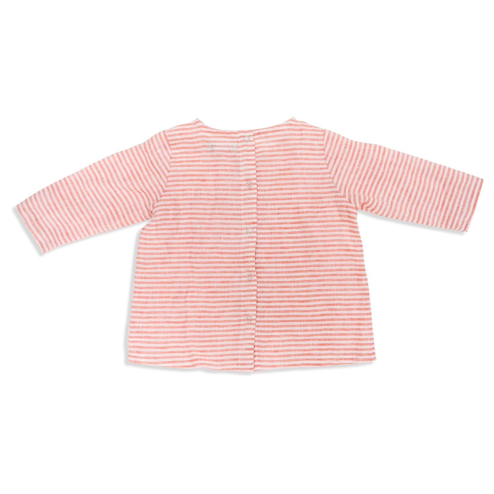 Frankie Linen Top Coral Stripe