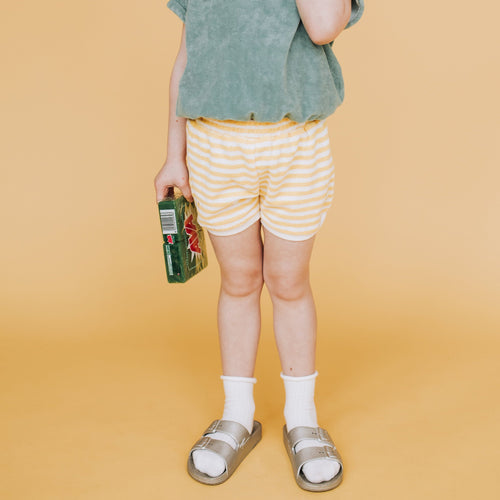 Sadie Terry Stripe Shorts Yellow Stripe