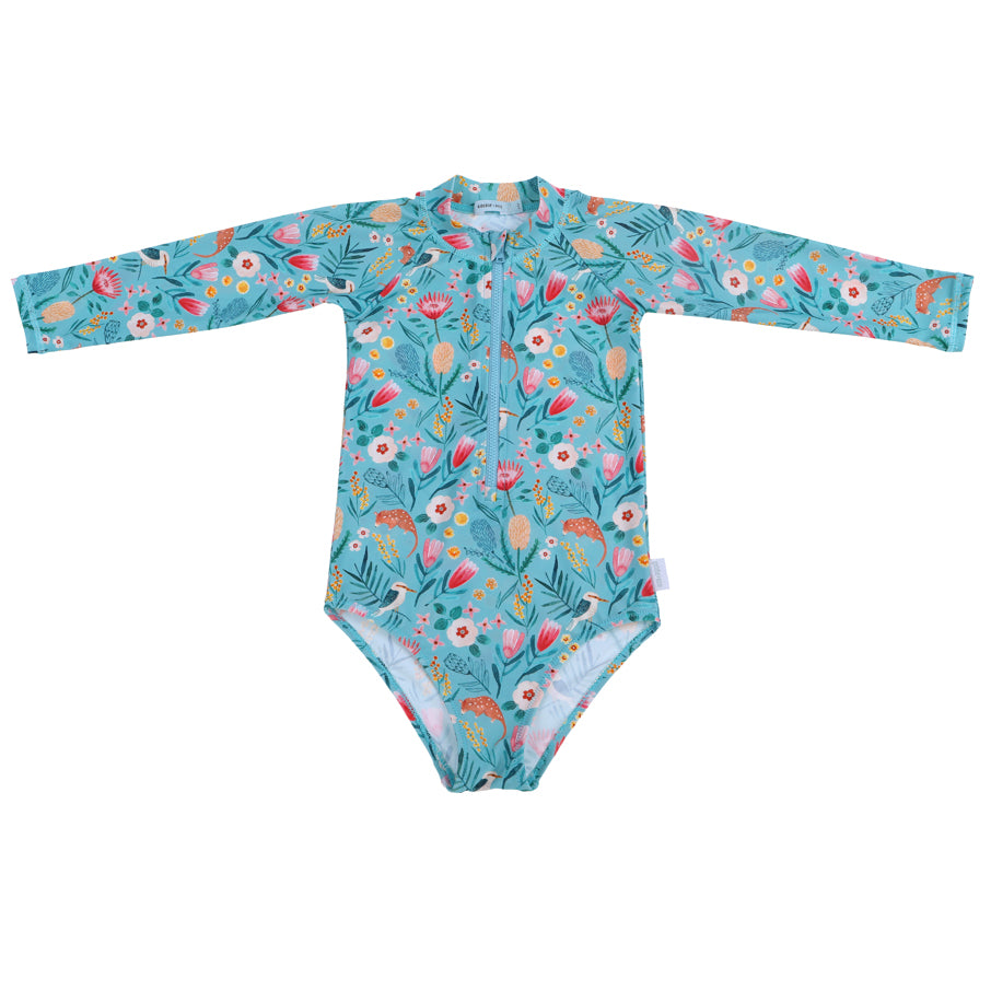 Native Garden Long Sleeve Zip Up Sunsuit Blue