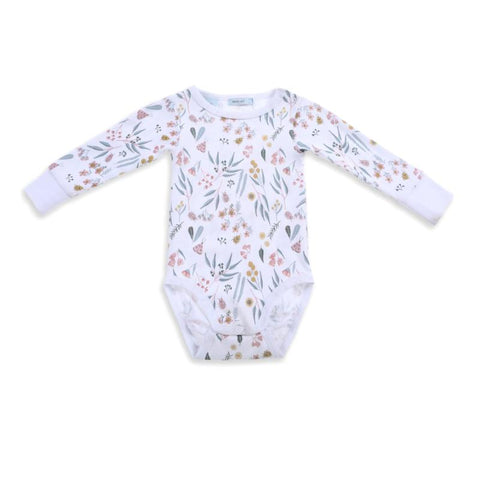 Cockatoo Party Long Sleeve Bodysuit - Peach