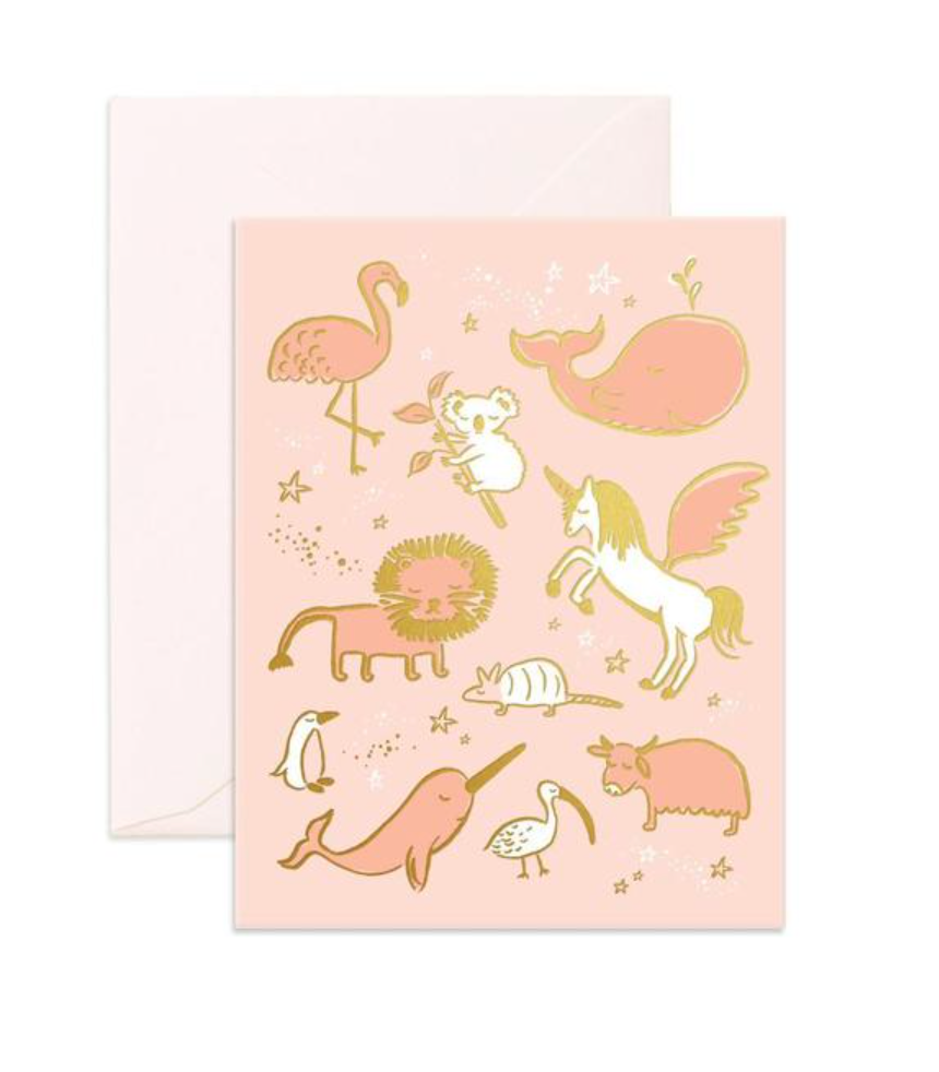 Unicorn Happy Birthday Card Pink