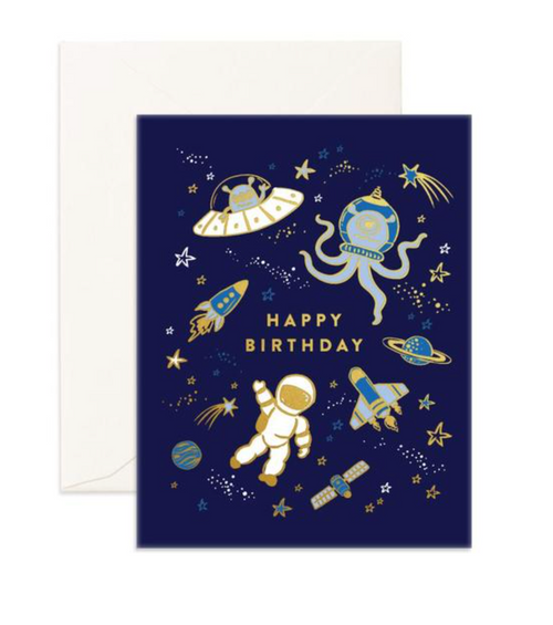 Outer Space Happy Birthday Card Navy