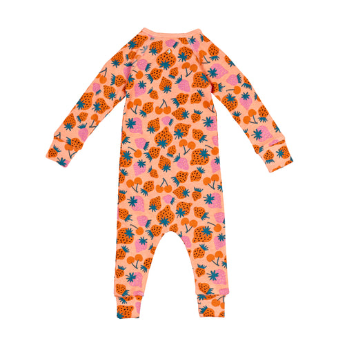 Strawberry Patch Print Zipsuit