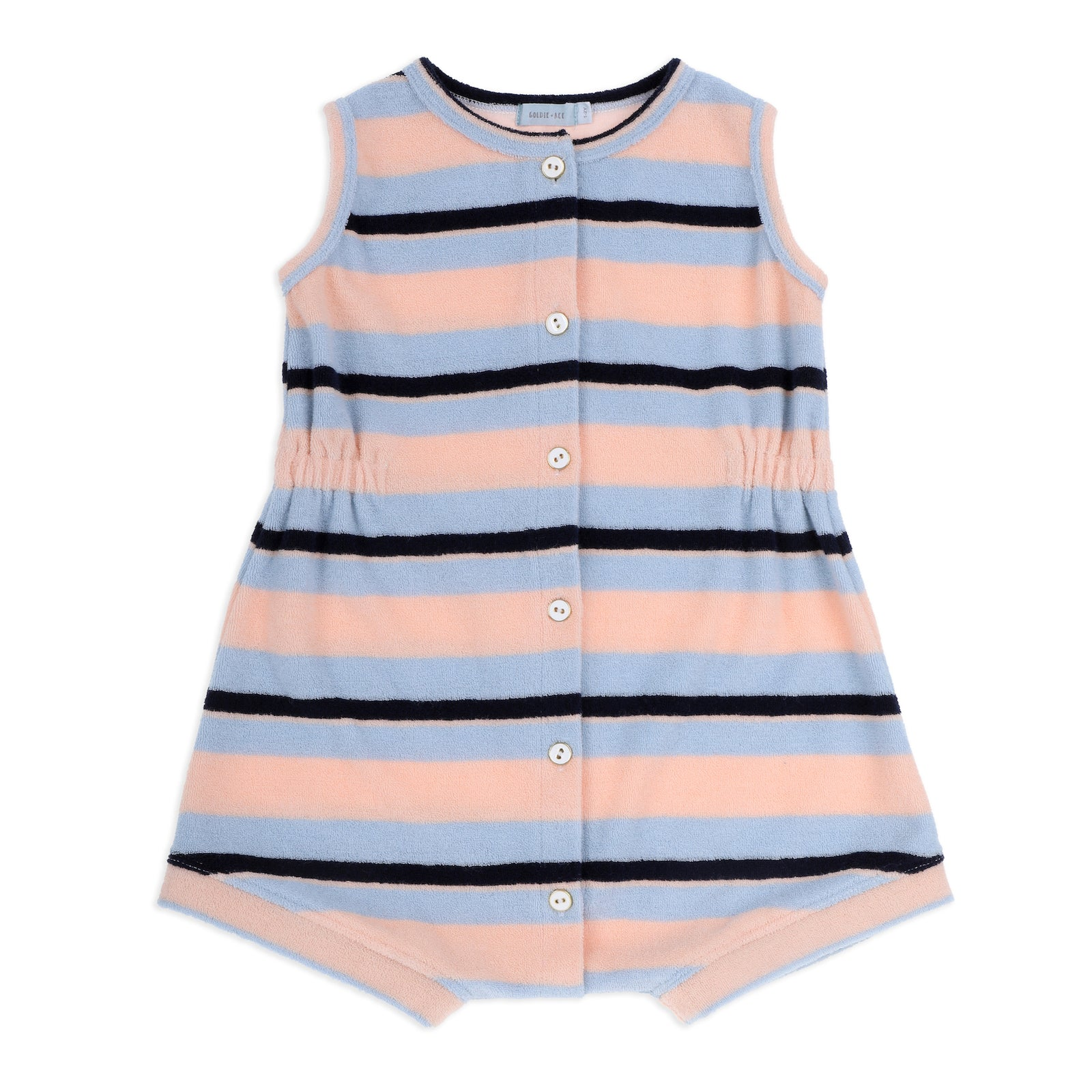Tony Terry Towelling Romper Blue Peach Stripe