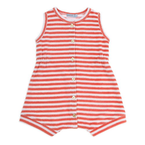 Tony Terry Towelling Romper Melon Stripe