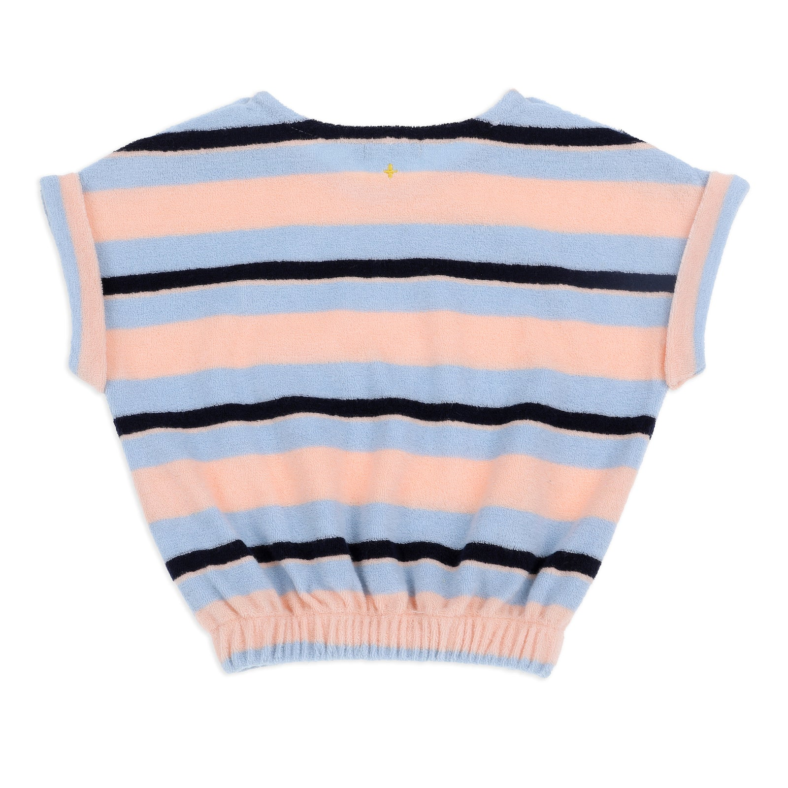 Wyatt Terry Towelling Tee Blue Peach Stripe