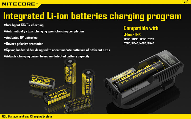 Nitecore Single Battery Smart USB Charger UM10
